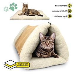 2-in-1 Pet Bed Snooze Tunnel and Mat for Pets Cats Dogs, Bei