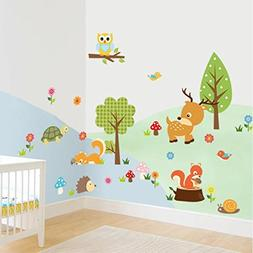 1 Set Forest Animals Owl Wall Stickers Living Room Bedroom T