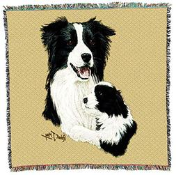 Pure Country Weavers - Border Collie with Puppy Dog Woven Bl