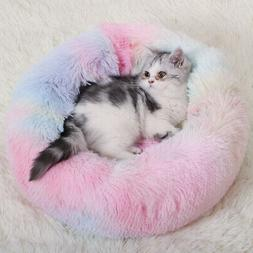 1xDonut Plush Pet Dog Cat Bed Fluffy Bed Calming Warm Soft N