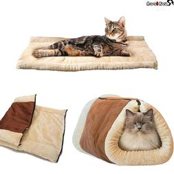 2 In 1 Pet Dog Cat Bed House Kennel Puppy Cave Warm Nest Sup