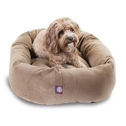 32 inch Stone Suede Bagel Dog Bed By Majestic Pet Products b