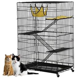 Yaheetech 4-Tier Cat Cage Playpen with 3 Ramp Ladders&4 Cast