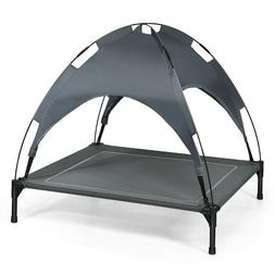 48 In Elevated Dog Bed Grey Raised Cot With Canopy Shade Top