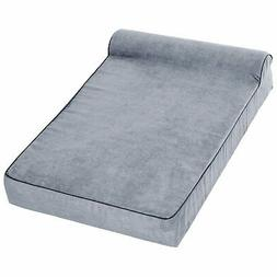 "48""x30"" Orthopedic Dog Bed Memory Foam with Pillow Grey W0W2"