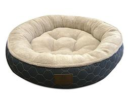 American Kennel Club AKC Circle Stitches Round Bed, Gray