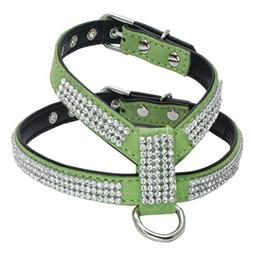 DEESEE Pet Dog Adjustable Pet Dog Leads Rhinestone Diamond C