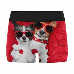 InterestPrint Men's Boxer Briefs Couple of Two Dogs on Valen