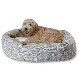 "Majestic Pet 52"" Charlie Gray Sherpa Bagel Bed"