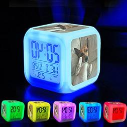 Alarm Clock 7 LED Color Changing Wake Up Bedroom with Data a