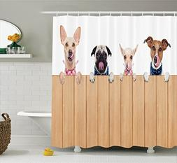 Ambesonne Dog Lover Decor Collection, Row of Hungry Dogs Ton