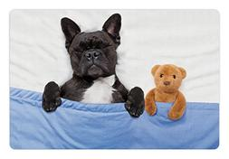 Ambesonne Animal Pet Mat for Food and Water, French Bulldog