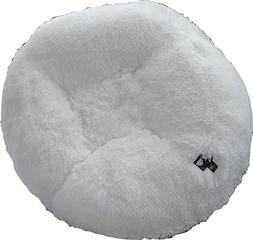 BESSIE AND BARNIE 30-Inch Bagel Bed for Pets, Small, Snow Wh