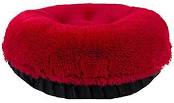 BESSIE AND BARNIE 42-Inch Bagel Bed for Pets, Large, Black P