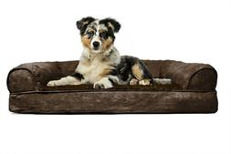 Bed For Small Dog Espresso Brown Orthopedic Suede Bolster So