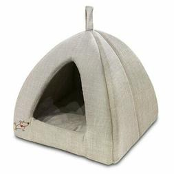 Best Pet Supplies TT607T-M Linen Tent House for Pets, Beige,