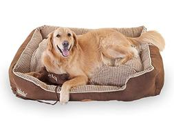 PLS Birdsong Paradise Bolster Dog Bed for Large Dogs with Pi