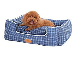 PLS Birdsong Trellis Bolster Plaid Extra Small Dog Bed, Pet