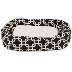 32 inch Black Links Sherpa Bagel Dog Bed