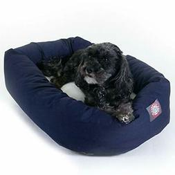 24 inch Blue & Sherpa Bagel Dog Bed By Majestic Pet Products