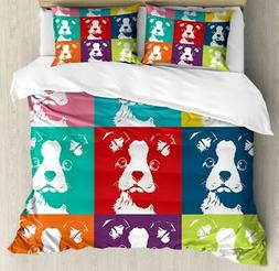 Boston Terrier Duvet Cover Set Twin Queen King Sizes with Pi