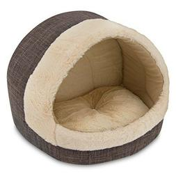 Brown Cat Cave Medium Plush Tent Bed for Pets Cozy House for