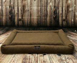 brown orthopedic dog bed with washable cover