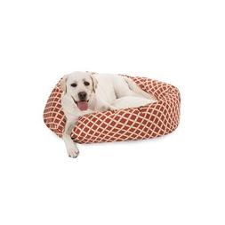 40 inch Burnt Orange Bamboo Sherpa Bagel Dog Bed