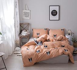Cozydecor Cartoon Dog Printed Bedding Duvet Cover Set Twin K