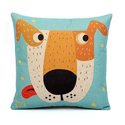 Cartoon Pattern Cotton Linen Decorative Throw Pillow,Dog