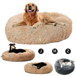 Cat Bed Faux Fur Dog Beds Joint-Relief Round Pillow Cuddler
