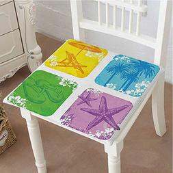 Mikihome Chair Pads Squared Seat Image of Palm Trees Starfis