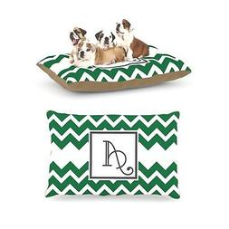 Kess InHouse Chevron Green Fleece Dog Bed, 30 by 40-Inch, Mo