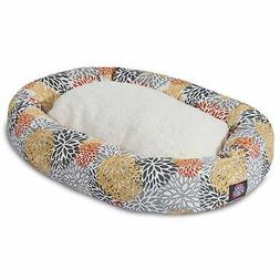 Citrus Blooms Sherpa Bagel Dog Bed by Majestic Pet