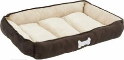 HappyCare Textiles Classic Rectangle Dog & Cat Bed, Brown