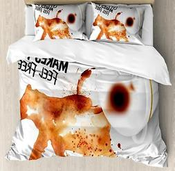 Coffee Art Duvet Cover Set Twin Queen King Sizes with Pillow