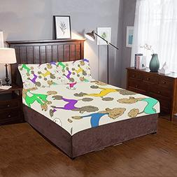 Artsadd Colorful Poodle Dogs 3-Pieces Bedding Set Includ 1 Q