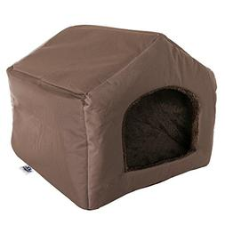 "PETMAKER Cozy Cottage House Shaped Pet Bed, Brown, 19"" x 18."