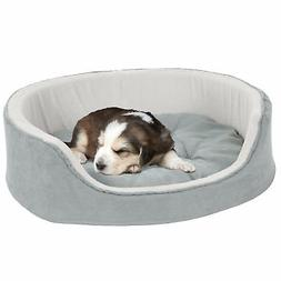PETMAKER Medium Cuddle Round Microsuede Pet Bed - Gray