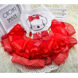 365Cor Cute Bow Dog Dress Tutu Skirt Summer Puppy Clothes Pr