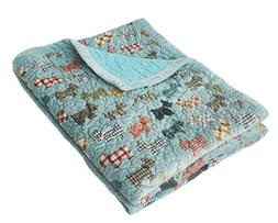 J-pinno Cute Cartoon Puppy Reversible Bedding Coverlet Quilt