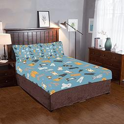 Artsadd Different Dogs Breed 3-Pieces Bedding Set Includ 1 Q