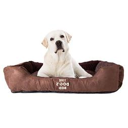 The Dog's Bed, Premium Plush Soft Dog Beds in Grey, Brown