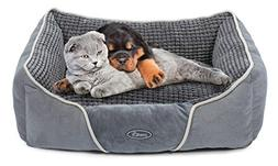 Dog Bed Cat Pet Bed Machine Washable Luxury Rectangle Bed wi