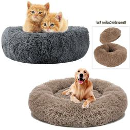 Dog Bed Donut Faux Fur Cuddler Cats Dogs Bed Round Soft Wash