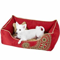 Blueberry Pet Dog Bed Medium Microsuede Bed Paisley Tango Re