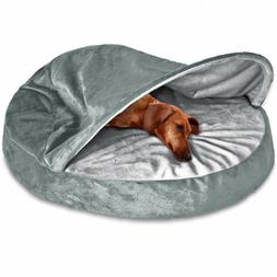 FurHaven Pet Dog Bed | Orthopedic Round Microvelvet Snuggery