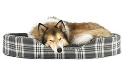 Furhaven Pet Dog Bed | Oval Terry Fleece and Plaid Pet Bed f