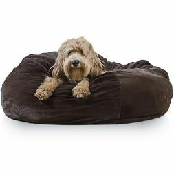 Furhaven Pet Round Plush Ball Pet Bed for Dogs & Cats, Espre