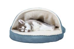 Furhaven Pet Dog Bed | Round Snuggery Burrow Pet Bed for Dog